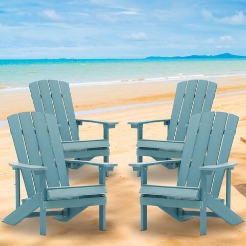 4 Sets Plastic Wood Adirondack Chairs Weather-Resistant by Bonosuki