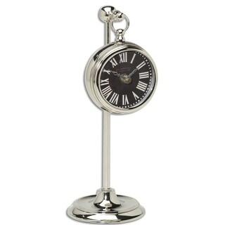 "12"" Black British Brass Pocket Watch Style Clock on Adjustable Telescopic Stand"