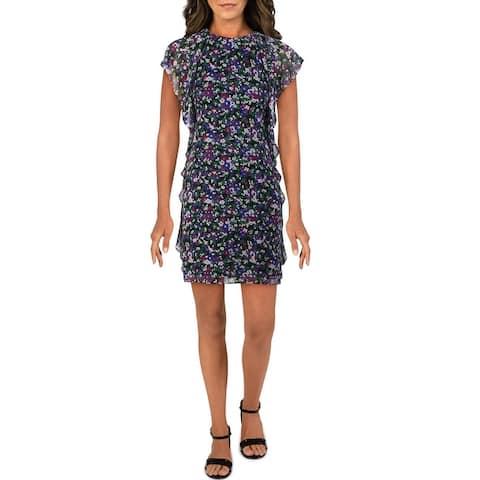 Lauren Ralph Lauren Womens Shift Dress Floral Print Ruffled - Black/Purple