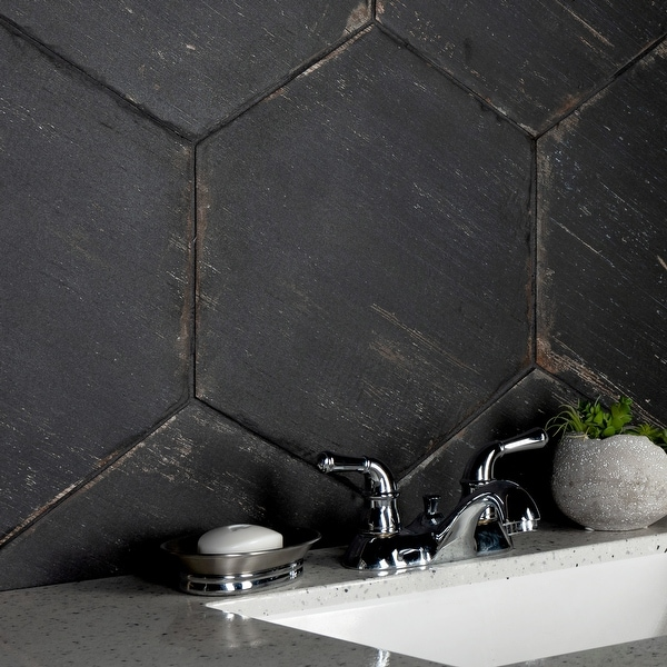 """SomerTile Retro Hex Nero 14.13"""" x 16.25"""" Porcelain Floor and Wall Tile. Opens flyout."""
