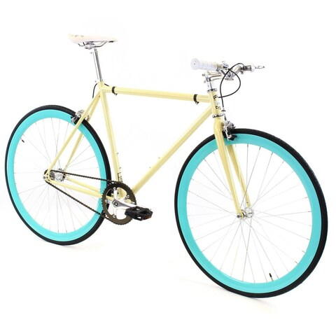 Fixed Gear - GOLDEN CYCLES Fixed Gear Bike Steel Frame Fixie with Deep V Rims- ABIGAIL