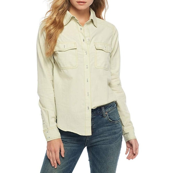 1760005e Shop Free People White Ivory Women Size Small S Bandit Button Down Shirt - Free  Shipping Today - Overstock - 28354784
