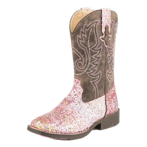 Roper Western Boot Girl Glitter Aztec Pull On Pink