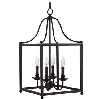 "Park Harbor PHPL5324 14"" Wide 4 Light Foyer Pendant with Lantern Style Cage Frame"