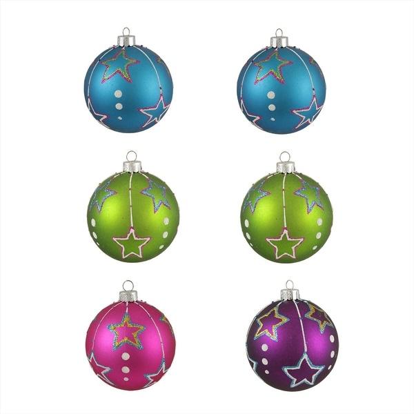 "6ct Colorful Matte Stars Shatterproof Christmas Ball Ornaments 3.25"" (80mm) - multi"