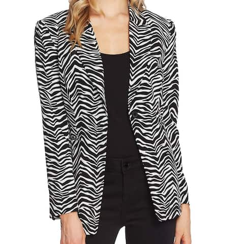 Vince Camuto Women's Blazer Black Size 6 Zebra Print Single Button