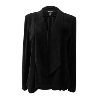 Link to Nine West Women's Wing-Collar Suede Jacket (6, Black) - Black Similar Items in Suits & Suit Separates