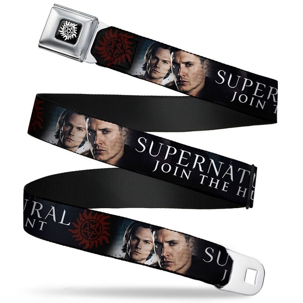 Winchester Logo Full Color Black White Winchester Brothers Faces Close Up & Seatbelt Belt