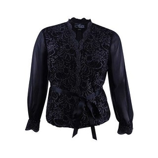 Alex Evenings Women's Petite Glitter Lace & Chiffon Blouse - Black/silver - pxl