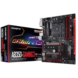Gigabyte Motherboard GA-AB350-Gaming 3 AMD Socket AM4 Gaming ATX Retail