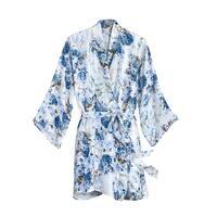Women's Blue Hydrangea Silk Robe - Short Style with 3/4 Sleeve