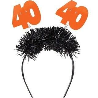 "Club Pack of 12 Orange and Black Age 40 Flashing Birthday Party Headbands 12.5"""