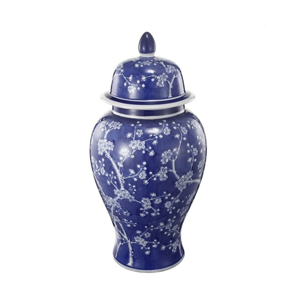 """18"""" Blue and White Vintage Style Cherry Blossoms Ginger Jar - N/A"""