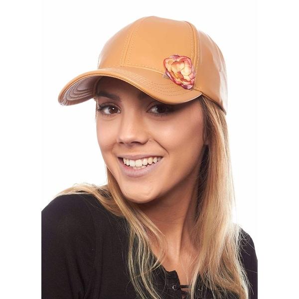 Metal and Petals Stylish Pleather Ladies Baseball Hat