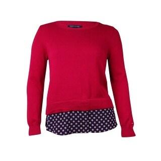 Tommy Hilfiger Women's Layered Look Printed Hem Sweater (L, Hot Raspberry) - L