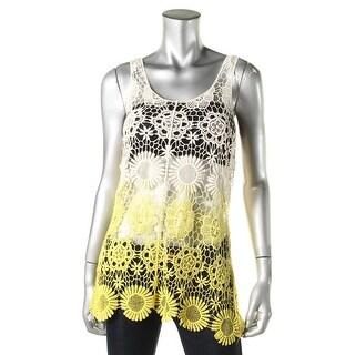 Cable & Gauge Womens Cotton Crochet Tank Top - L/XL