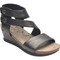 Rockport Women's Cobb Hill Shona Asym Cuff Sandal Black Metallic Leather