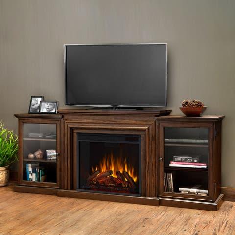 Frederick Electric Media Fireplace in Chestnut Oak - 72L x 15.5W x 30.1H