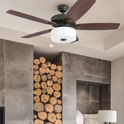 """Prominence Home Greybrook Transitional 52"""" Aged Bronze LED Ceiling Fan, Linen Drum Light"""