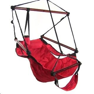Sunnydaze Hanging Hammock Chair & Hammock Stand Combo W/ Pillow & Drink Holder (Option: Tan)