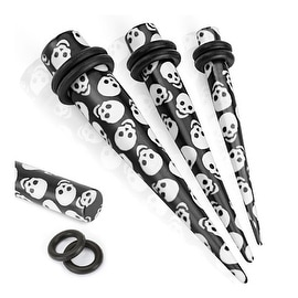 Printed Skulls Solid Acrylic Taper with O-Rings (Sold Individually)