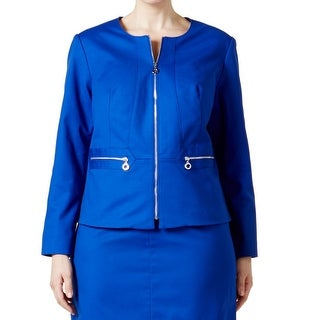 Calvin Klein NEW Blue Women's Size 14W Plus Full-Zipped Solid Jacket