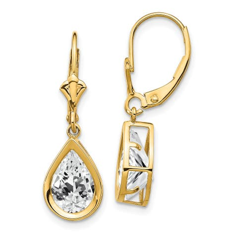 14K Yellow Gold 10x7mm Pear Cubic Zirconia Leverback Earrings by Versil