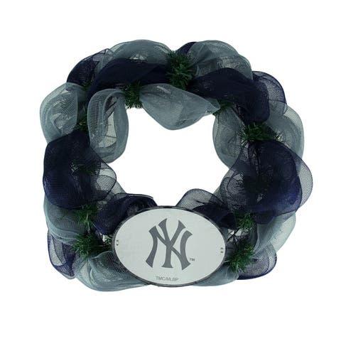 MLB New York Yankees Logo Mesh Holiday Door Wreath - Multicolored - 19.5 X 19.5 X 3.5 inches