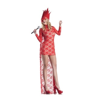 Sexy Red Lace Lady Pop Star Costume Dress Adult Large 12-14,Medium 8-10,Small 4-6,X-Large 14-16