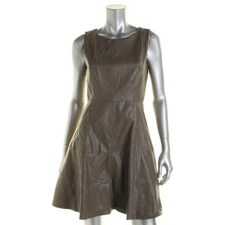 Eva Franco Womens Haven Faux Leather A-Line Wear to Work Dress - 4