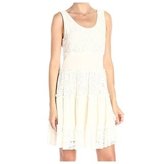 Karen Kane NEW Cream Ivory Womens Size Large L Tiered Lace A-Line Dress