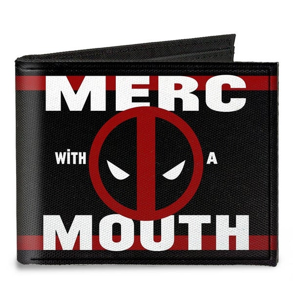 Deadpool Logo Merc With A Mouth Stripe Black Red White Canvas Bi Fold Wallet One Size - One Size Fits most
