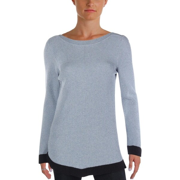 73d15ccc73 Shop Nic + Zoe Womens Pullover Sweater Ribbed Knit Contrast Trim ...