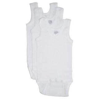 Bambini Baby Unisex White Rib Knit Sleeveless 3-Pack Tank Bodysuits