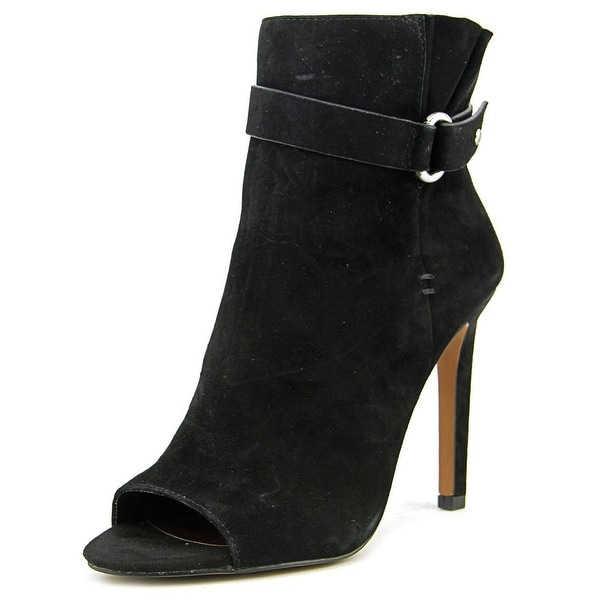 BCBGeneration Carolena Women Peep-Toe Suede Black Ankle Boot