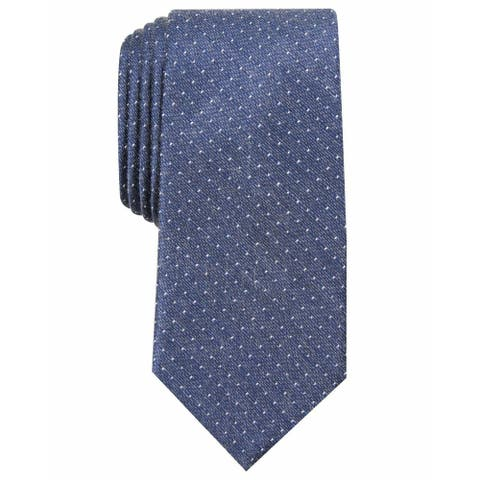 Perry Ellis Men's Blue Seedorf Polka Dot Classic Slim Neck Tie Silk