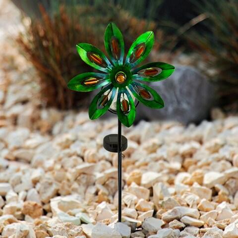 FloralSpin - Solar LED Garden Pinwheel