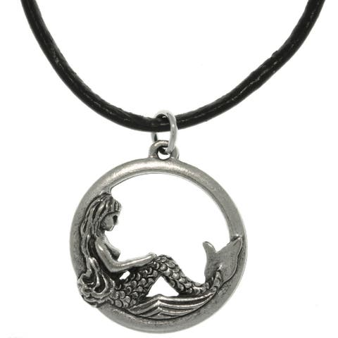 Pewter Mermaid Leather Cord Necklace