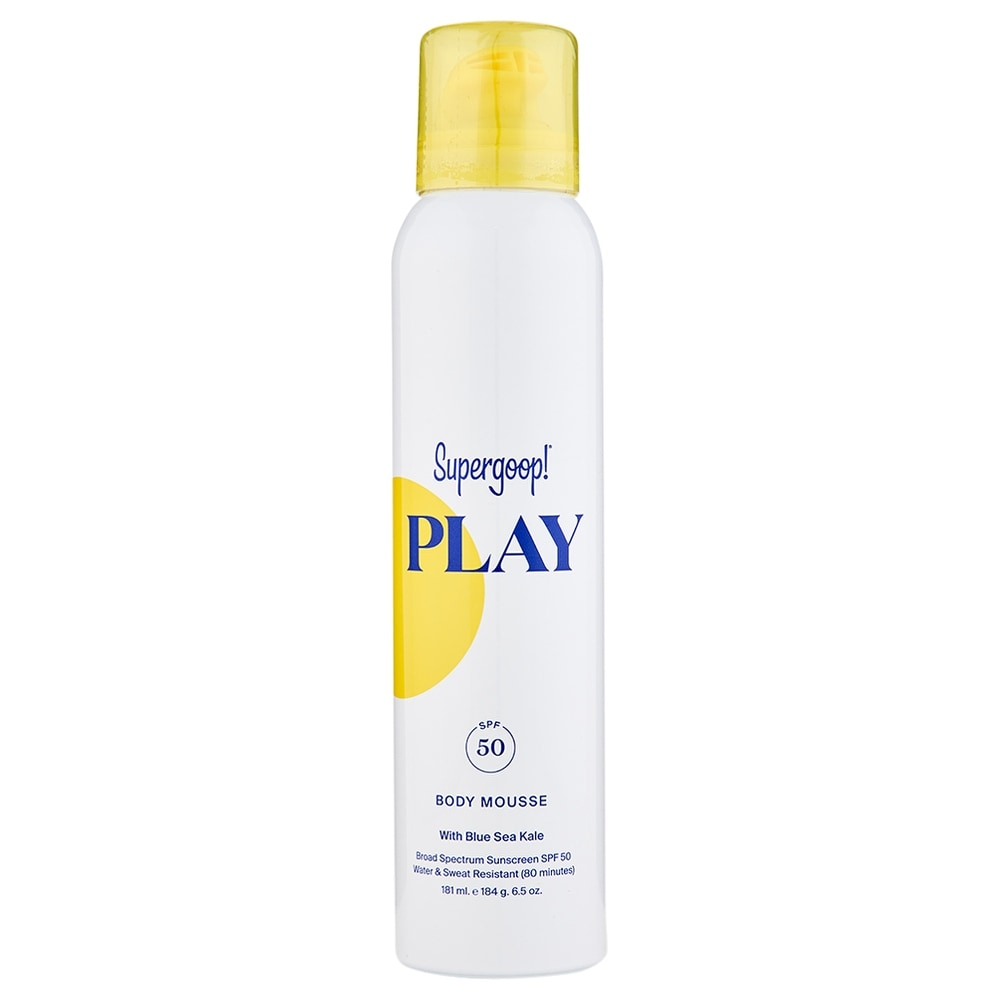 Supergoop Play Body Mousse SPF 50 with Blue Sea Kale 6.5 oz / 181 ml (White - Body Sunscreen)