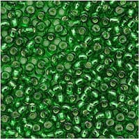 Toho Round Seed Beads 11/0 27B 'Silver Lined Grass Green' 8 Gram Tube