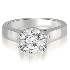0.50 cttw. 14K White Gold Trellis Solitaire Round Cut Diamond Engagement Ring