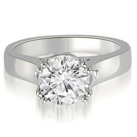 1.00 cttw. 14K White Gold Trellis Solitaire Round Cut Diamond Engagement Ring