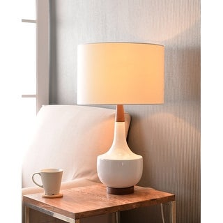 "Link to Marlo 26"" White Glossy Ceramic Table Lamp Similar Items in Table Lamps"