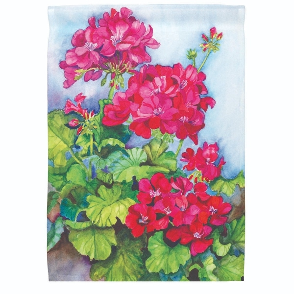 """Green and Red Floral Printed Outdoor Garden Flag 18"""" x 13"""" - N/A"""