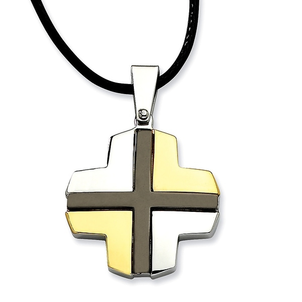 Chisel Stainless Steel Polished with Black & Gold Plated Cross Pendant 20 Inch Necklace (3 mm) - 20 in