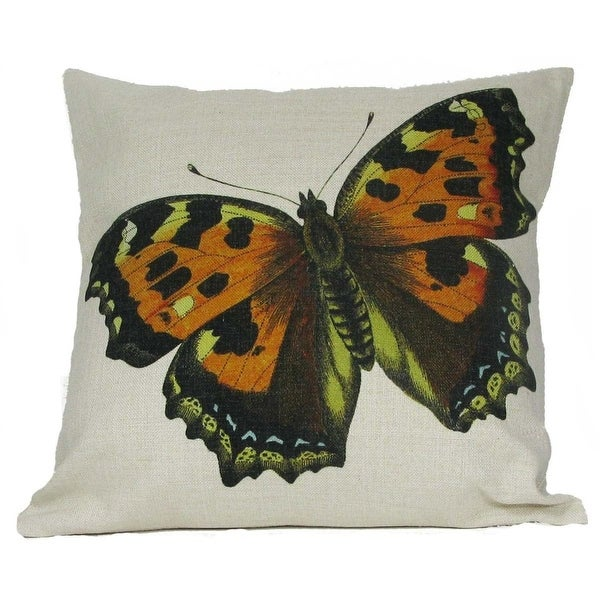 """Beautiful Orange and Yellow Spotted Butterfly Decorative Throw Pillow Cover 18"""""""
