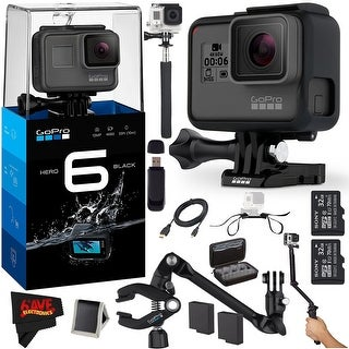 GoPro HERO6 Black + (2) Sony 32GB Class 10 Micro SDHC Memory Cards + Large Gopro Case + Micro HDMI Cable Extereme Accessory Kit