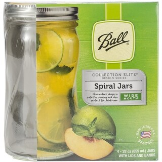 28Oz Elite Series Clear - Ball(R) Wide Mouth Spiral Canning Jars 4/Pkg