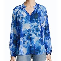 IMNYC Women's Large V-Neck Abstract Print Sheer Blouse