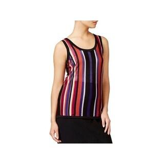 Anne Klein Womens Tank Top Sweater Striped U-Neck